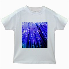Neon Light Line Vertical Blue Kids White T Shirts by Mariart