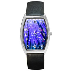 Neon Light Line Vertical Blue Barrel Style Metal Watch by Mariart