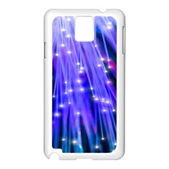 Neon Light Line Vertical Blue Samsung Galaxy Note 3 N9005 Case (white) by Mariart