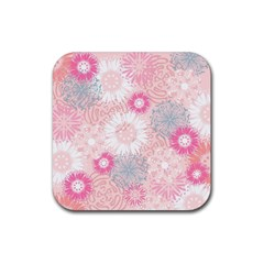 Scrapbook Paper Iridoby Flower Floral Sunflower Rose Rubber Coaster (square)