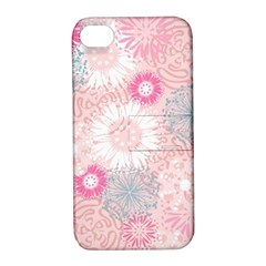 Scrapbook Paper Iridoby Flower Floral Sunflower Rose Apple Iphone 4/4s Hardshell Case With Stand by Mariart