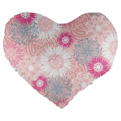 Scrapbook Paper Iridoby Flower Floral Sunflower Rose Large 19  Premium Flano Heart Shape Cushions by Mariart