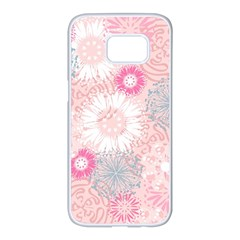Scrapbook Paper Iridoby Flower Floral Sunflower Rose Samsung Galaxy S7 Edge White Seamless Case by Mariart