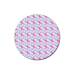Squiggle Red Blue Milk Glass Waves Chevron Wave Pink Rubber Round Coaster (4 Pack)  by Mariart