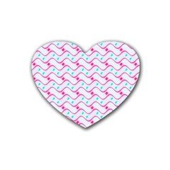 Squiggle Red Blue Milk Glass Waves Chevron Wave Pink Rubber Coaster (heart)  by Mariart