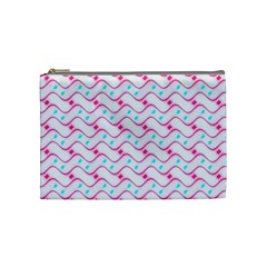 Squiggle Red Blue Milk Glass Waves Chevron Wave Pink Cosmetic Bag (medium)  by Mariart