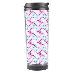 Squiggle Red Blue Milk Glass Waves Chevron Wave Pink Travel Tumbler