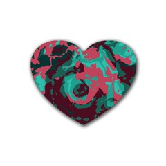 Abstract Art Rubber Coaster (heart)  by ValentinaDesign