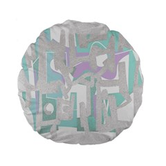 Abstract Art Standard 15  Premium Flano Round Cushions by ValentinaDesign