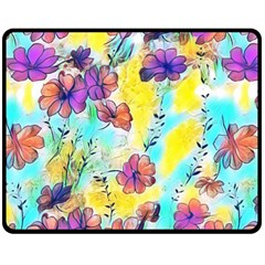 Floral Dreams 12 Fleece Blanket (medium)  by MoreColorsinLife