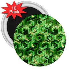 Pattern Factory 23 Green 3  Magnets (10 Pack)  by MoreColorsinLife