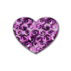 Pattern Factory 23 Pink Rubber Coaster (heart)  by MoreColorsinLife