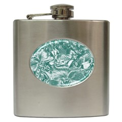 Shimmering Floral Damask, Teal Hip Flask (6 Oz)