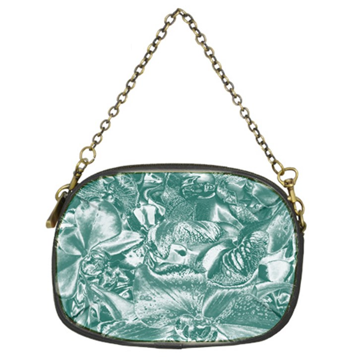 Shimmering Floral Damask, Teal Chain Purses (Two Sides)