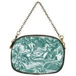Shimmering Floral Damask, Teal Chain Purses (Two Sides)  Back
