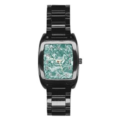 Shimmering Floral Damask, Teal Stainless Steel Barrel Watch by MoreColorsinLife