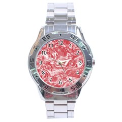 Shimmering Floral Damask Pink Stainless Steel Analogue Watch by MoreColorsinLife