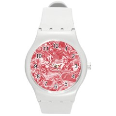 Shimmering Floral Damask Pink Round Plastic Sport Watch (m) by MoreColorsinLife