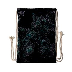Glowing Flowers In The Dark C Drawstring Bag (small) by MoreColorsinLife