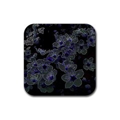 Glowing Flowers In The Dark B Rubber Square Coaster (4 Pack)  by MoreColorsinLife