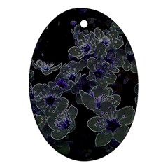 Glowing Flowers In The Dark B Oval Ornament (two Sides) by MoreColorsinLife