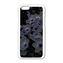 Glowing Flowers In The Dark B Apple Iphone 6/6s White Enamel Case by MoreColorsinLife