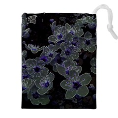 Glowing Flowers In The Dark B Drawstring Pouches (xxl) by MoreColorsinLife