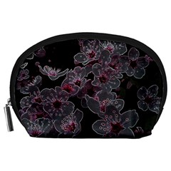 Glowing Flowers In The Dark A Accessory Pouches (large)  by MoreColorsinLife