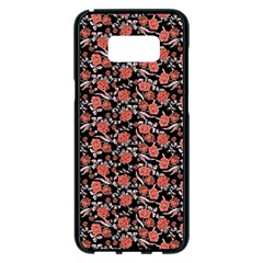 Roses Pattern Samsung Galaxy S8 Plus Black Seamless Case by Valentinaart
