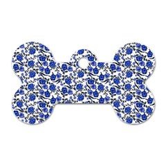 Roses Pattern Dog Tag Bone (two Sides)
