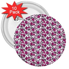 Roses Pattern 3  Buttons (10 Pack)  by Valentinaart