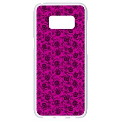 Roses Pattern Samsung Galaxy S8 White Seamless Case by Valentinaart