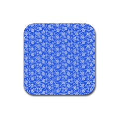 Roses Pattern Rubber Square Coaster (4 Pack)