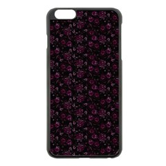 Roses Pattern Apple Iphone 6 Plus/6s Plus Black Enamel Case