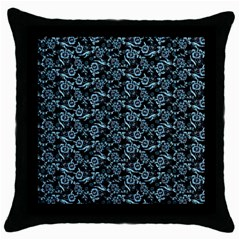 Roses Pattern Throw Pillow Case (black) by Valentinaart