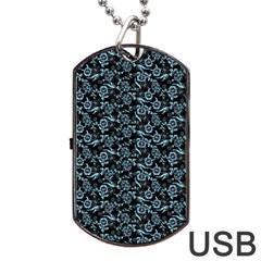 Roses Pattern Dog Tag Usb Flash (two Sides) by Valentinaart