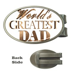 World s Greatest Dad Gold Look Text Elegant Typography Money Clips (oval)  by yoursparklingshop