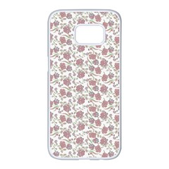 Roses Pattern Samsung Galaxy S7 Edge White Seamless Case