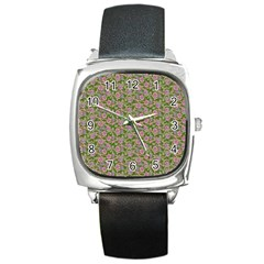 Roses Pattern Square Metal Watch