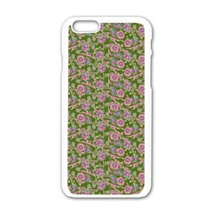 Roses Pattern Apple Iphone 6/6s White Enamel Case by Valentinaart