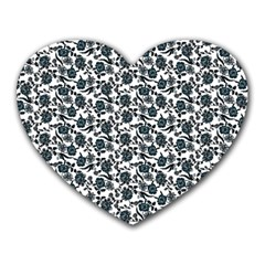 Roses Pattern Heart Mousepads by Valentinaart