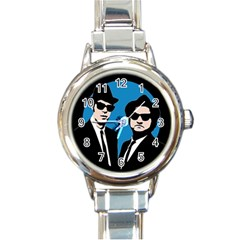 Blues Brothers  Round Italian Charm Watch by Valentinaart