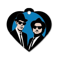 Blues Brothers  Dog Tag Heart (one Side) by Valentinaart