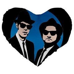 Blues Brothers  Large 19  Premium Heart Shape Cushions by Valentinaart