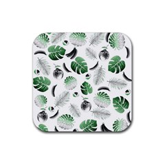 Tropical Pattern Rubber Square Coaster (4 Pack)