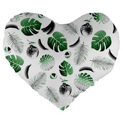 Tropical Pattern Large 19  Premium Flano Heart Shape Cushions by Valentinaart