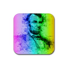 Abraham Lincoln Portrait Rainbow Colors Typography Rubber Square Coaster (4 Pack)  by yoursparklingshop