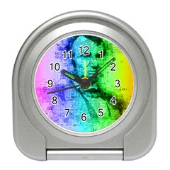 Abraham Lincoln Portrait Rainbow Colors Typography Travel Alarm Clocks by yoursparklingshop