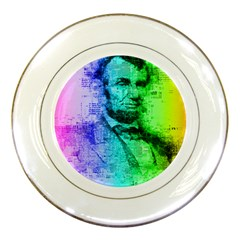 Abraham Lincoln Portrait Rainbow Colors Typography Porcelain Plates by yoursparklingshop