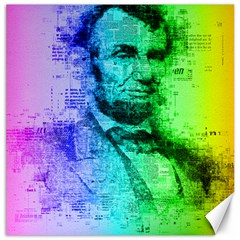 Abraham Lincoln Portrait Rainbow Colors Typography Canvas 16  X 16   by yoursparklingshop